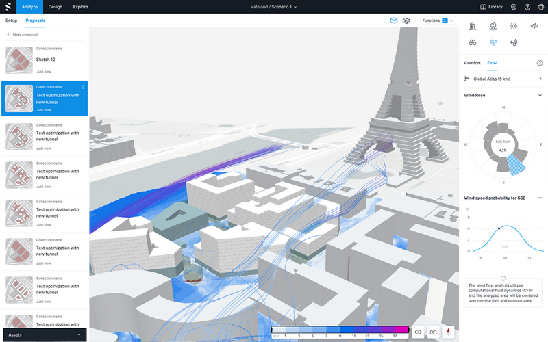 Spacemaker analysis of wind on a development in Paris.