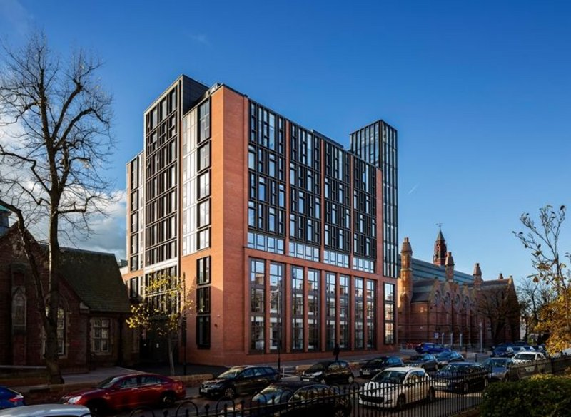 Main Site Tower and Peter Froggatt Centre, Queens University Belfast, Belfast.