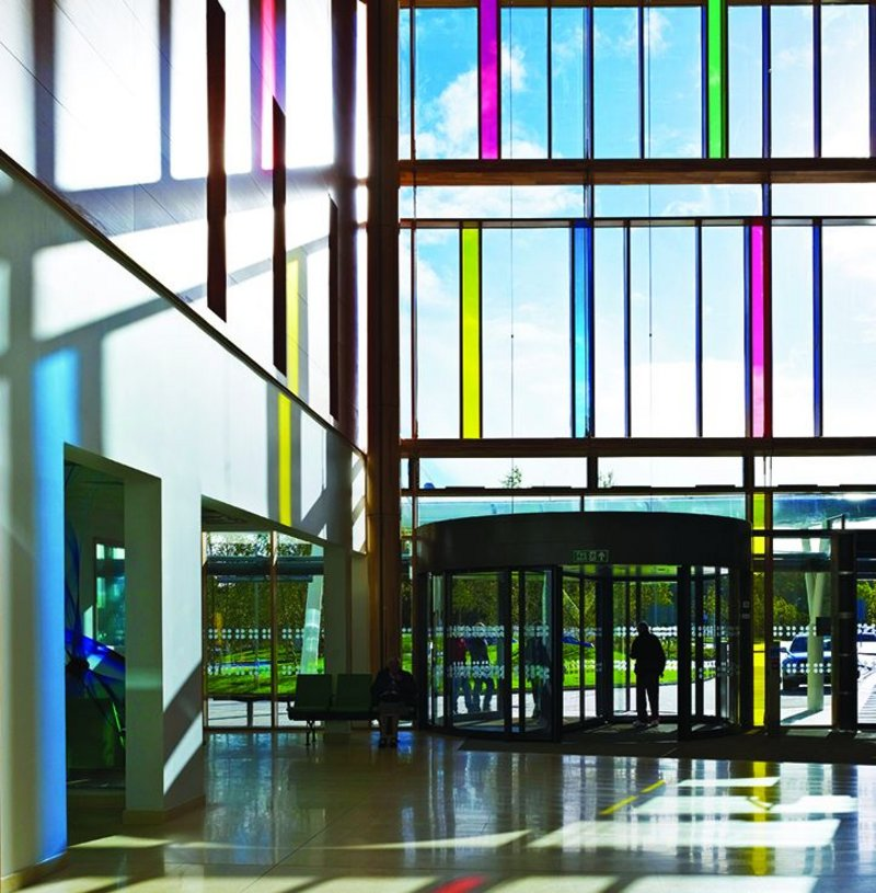Main reception area at Stantec Anshen + Allen's 2012, €267m South West Acute Hospital in Enniskillen, Northern Ireland