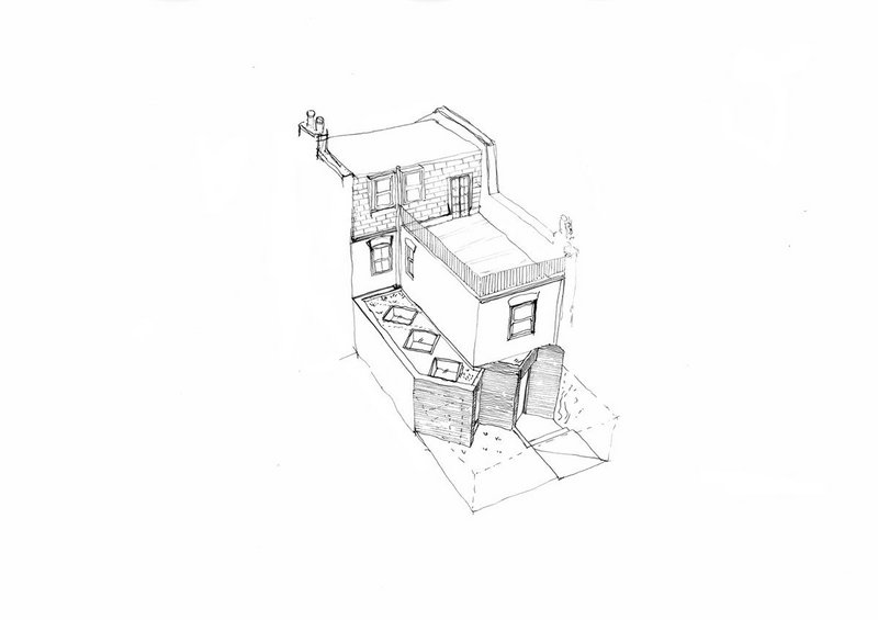 Hand drawing by Megan Ebanks of MEA Studio for rear extension of a terraced house in Putney.