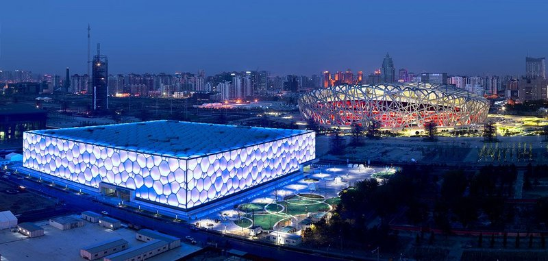 'A piece of magic': Beijing National Aquatics Centre,  The Water Cube (foreground), 2008, with PTW Architects