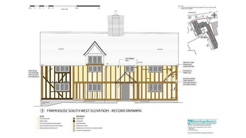 Southwest elevation for the repair of a 17th-century farmhouse by Adam Grant of Norton Studio Architects.