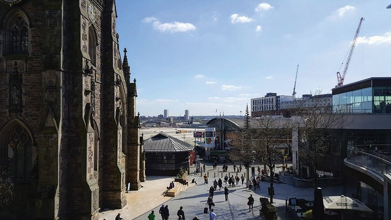 The Smithfield site beyond St Martin's Church from the Bullring has been cleared to make way for the £1.5 billion development.