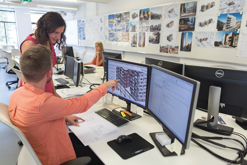 Staff at David Miller Architects, where the workflow is increasingly digital.