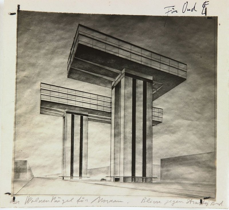 Cloud Iron horizontal skyscraper by El Lissitzky. Photo by El Lissitzky of 'Cloud Iron. Ground Plan. View from Strastnoy Boulevard', 1925, black and white photography with annotations by the artist.