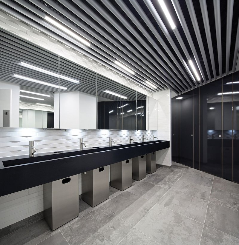JRA's 120 Holborn, a mixed use development for client Zebulon.  An industrial aesthetic was chosen for washrooms, appealing to a media led tenant.