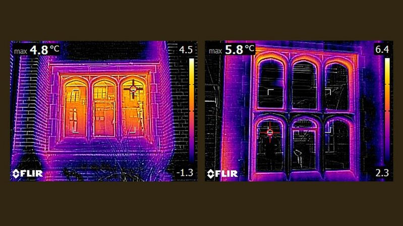 Thermal imagery before and after the 2017 refurbishment of the Armstrong building at Newcastle University. Howarth Litchfield architects.