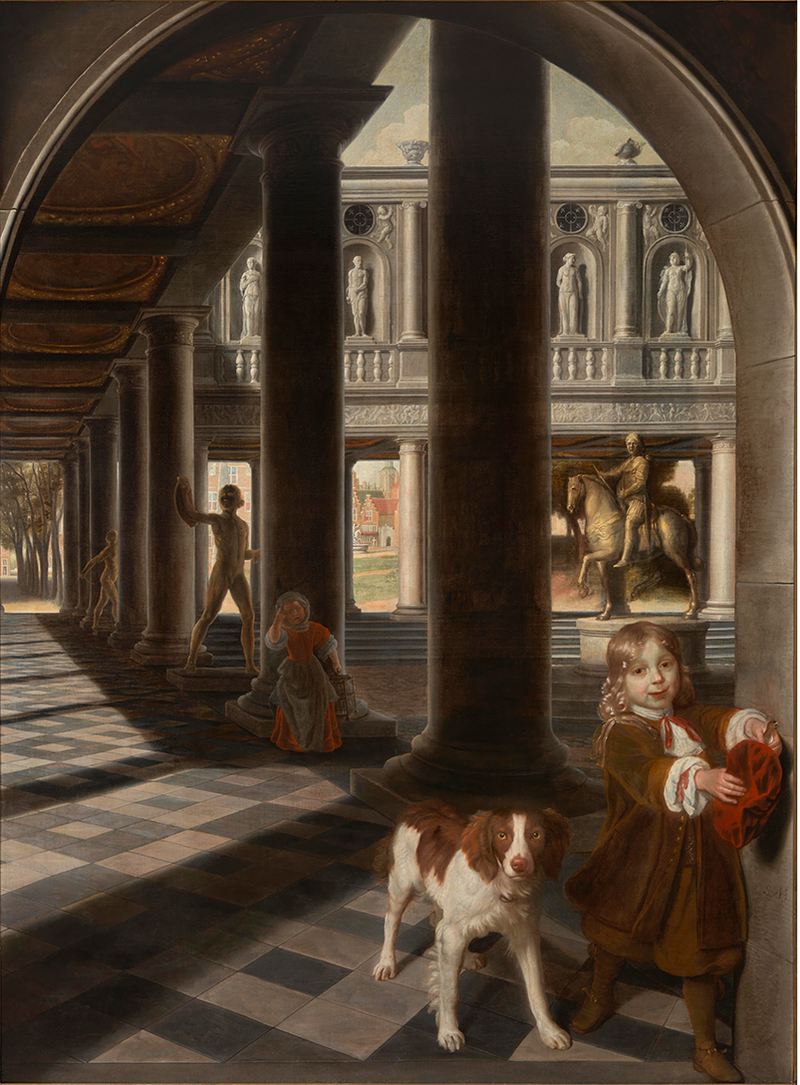 Perspective with a Boy Catching a Bird by Samuel Van Hoogstraten, 1662-6, private collection. Trompe l'oeil paintings were fashionable in the late Stuart period and prized for their trickery.