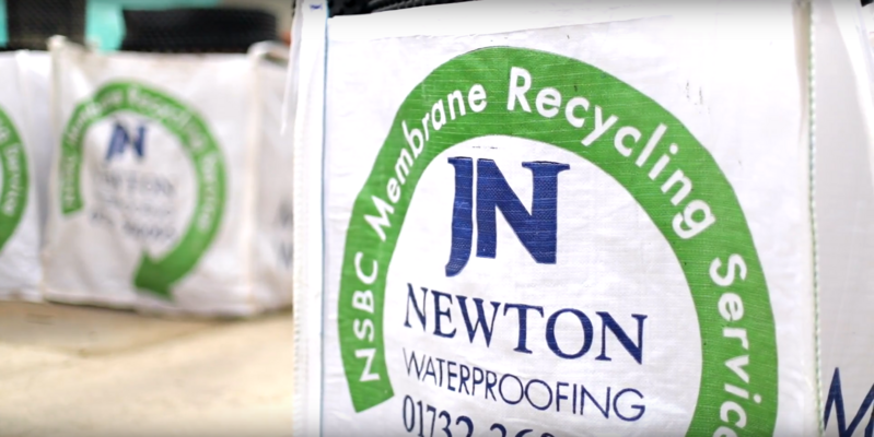 Waste membrane for recycling is collected by Newton Specialist Contractors in special branded bags and transported back to Newton on delivery back-loads, minimising its environmental impact.