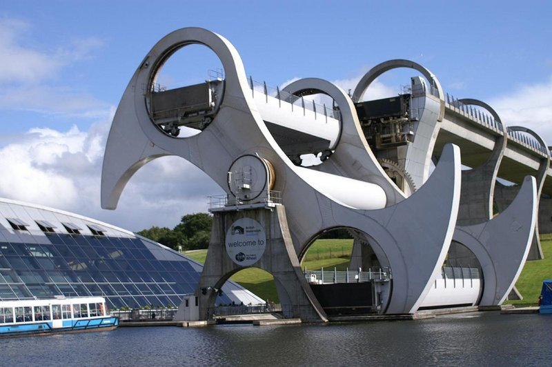 Counterbalances on the Falkirk Wheel  mean the heavy lifting can be done with the same energy as boiling eight kettles.