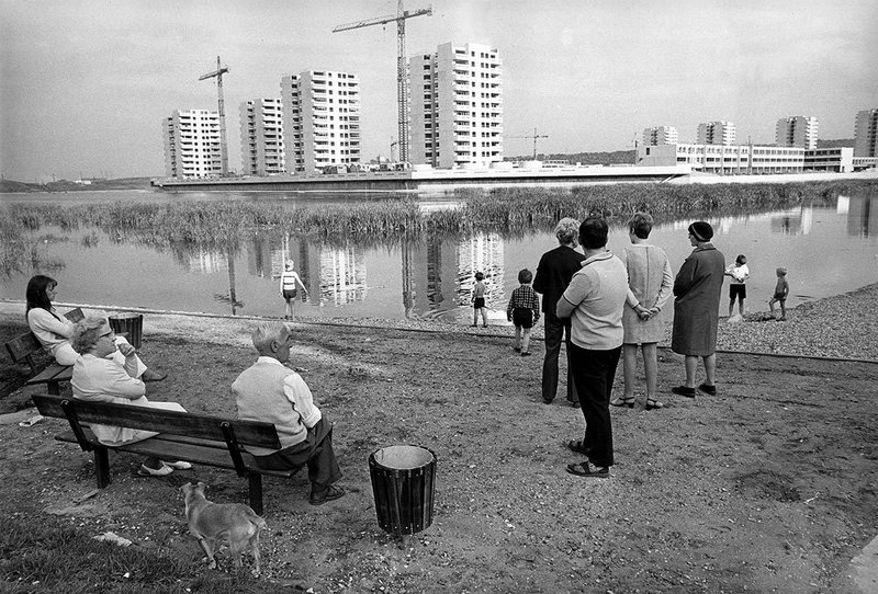 The regeneration of Thamesmead continues, here towers along the water being built in 1970.