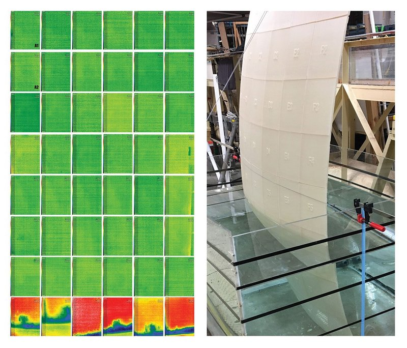 Figure 2: Left: Infrared Imaging (IR) of Flat Wall experiment of 48 Cork-PLA-PHA panels and capillary/dampness analysis. Right-Top: Cork-PLA-PHA wall experiment in water tank; PLA-PHA wall experiment in water tank; Below: Panel assemblage of double curvature wall without any mechanical joints held only by friction of slip joints.