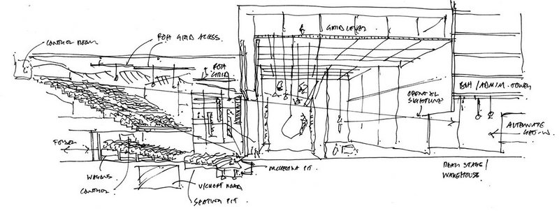 Concept sketch for The Factory, Manchester with OMA which will house theatre and arts.