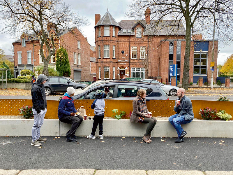 New types of public realm out of the pandemic at Belfast's Ormeau Parklet.