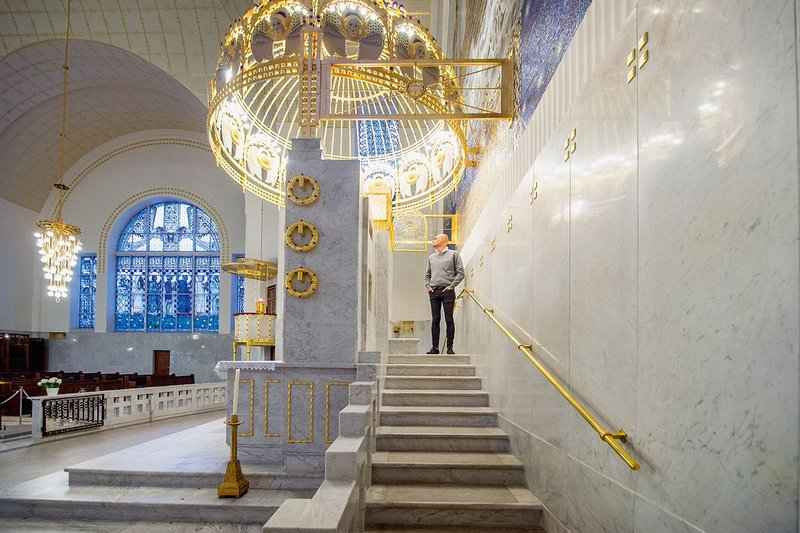 Otto Wagner's Steinhof Church. 'Opulent and quite decadent,' says David Archer but then seen as sparse and abstract.