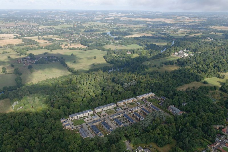 Cliveden Village aerial view – there used to be a wartime hospital here.