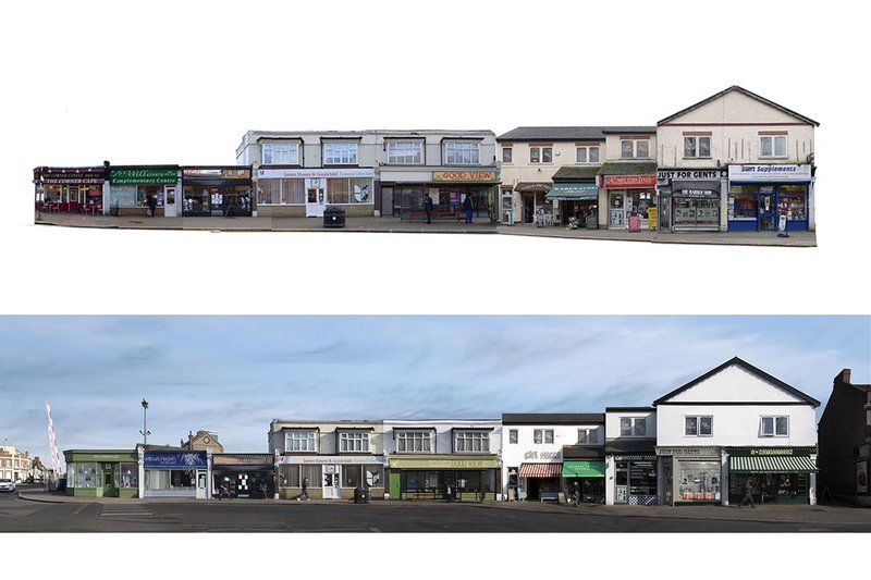 1-12 The Broadway, Highams Park, before (top) and after. The shopfronts project was led by Waltham Forest Council.