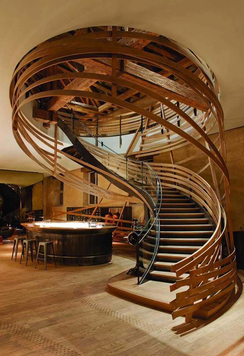The monumental stair from the restaurant lobby to the first floor dining hall and kitchen