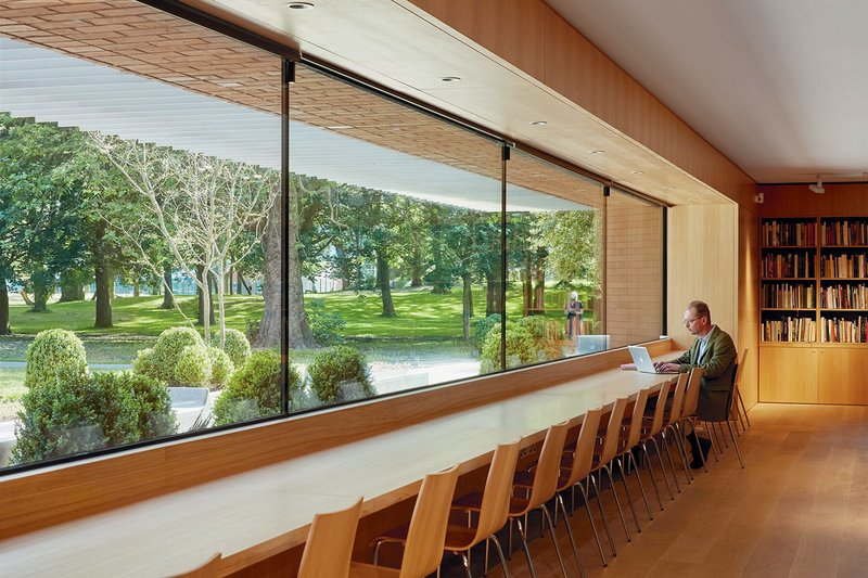 The study centre features a 13.5m wide panoramic window over the Art Garden.