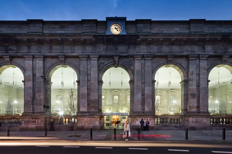 The Portico face of Newcastle Central Station.