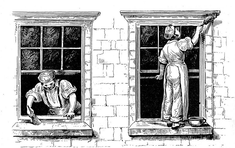 A house painter painting a window, c1820.