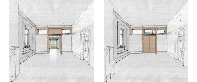 Laura Miller of Miller Clear Architects showed sketches of alternative views - of the tree-line or of the new garden room - in a historic house near Coniston.