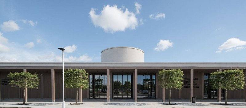 Exterior view of the Remembrance Centre, National Memorial Arboretum, Alrewas, designed by Glenn Howells Architects