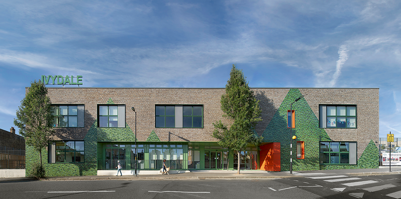 At Ivydale Primary, the rich earthy tones of Floren Castor bricks set off the abstract pattern of green triangles which were inspired by a Julia Woolf illustration.