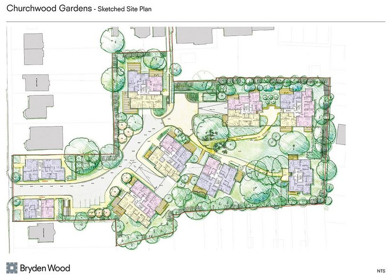 Sketched site plan, Churchwood Gardens.