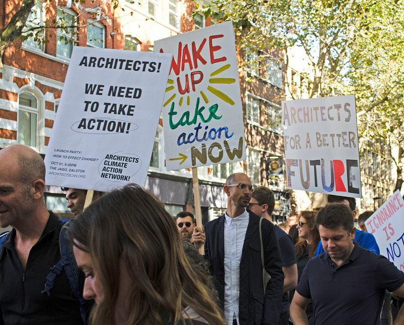 Architects making their voices heard at Global Climate Strike 2019.
