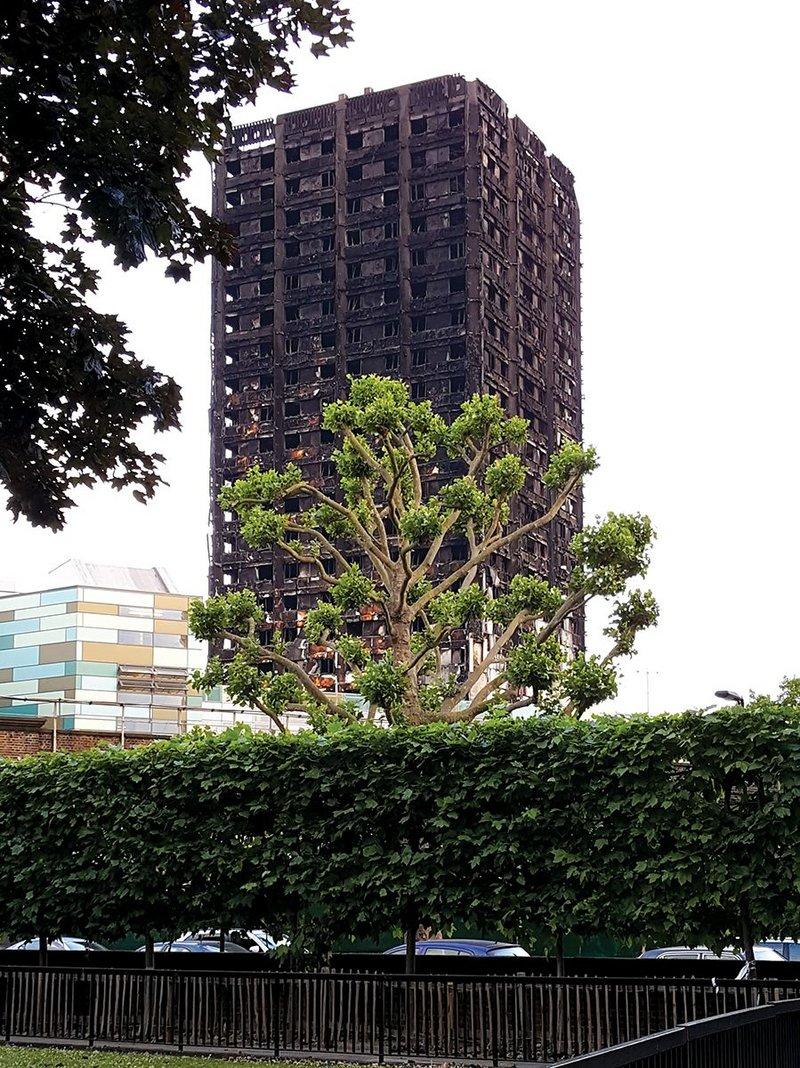 A reproach to the whole construction industry: the fire-blackened hulk of Grenfell Tower.