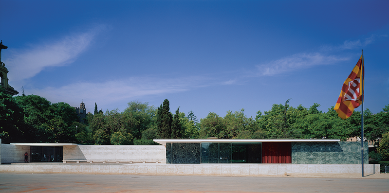 Mies van der Rohe and Lilly Reich's 1929 Barcelona Pavilion, rebuilt in replica in the 1980s, began a modernist tradition of the free plan and floating roof that led to Mies' own Farnsworth House and many buildings by others.