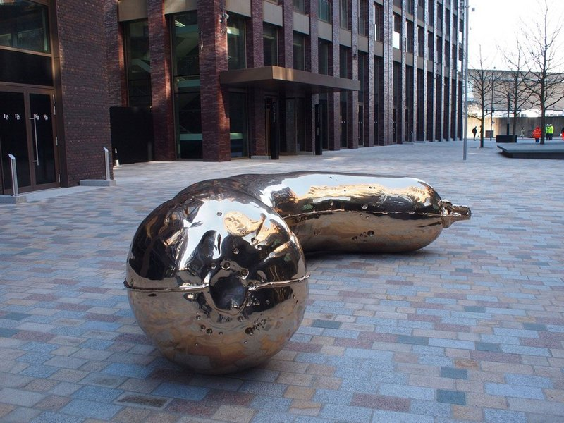 Sarah Lucas' bronze marrow at Embassy Gardens, London.