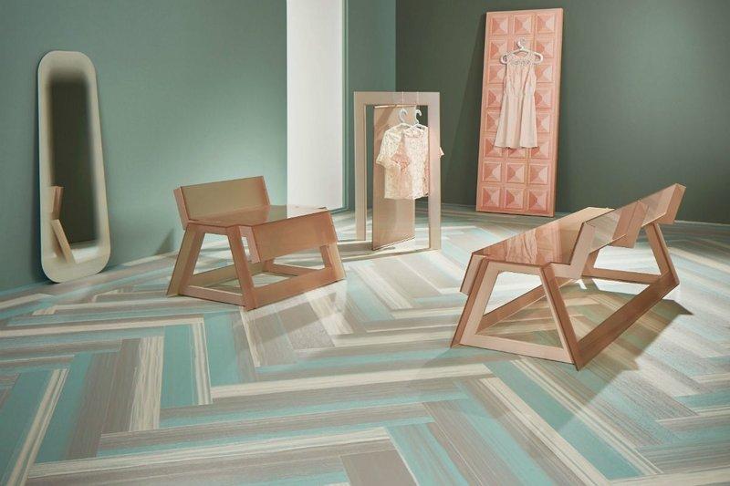 Forbo Allura Fusion vinyl tile flooring in wp60405 Green Colour Fuse.