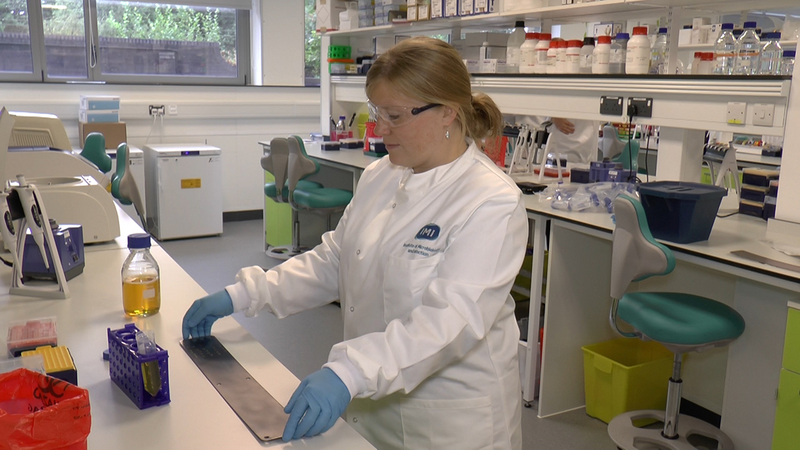 Dr Felicity de Cogan at work in the laboratory at the University of Birmingham.