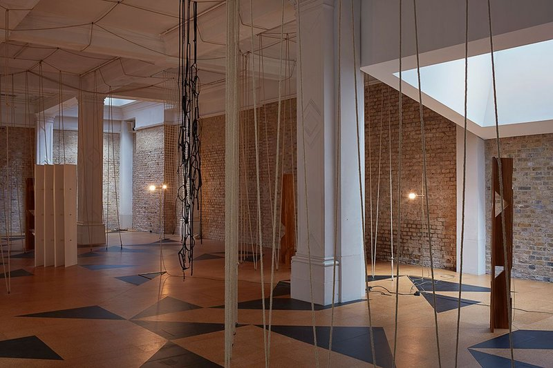 Leonor Antunes: The Frisson of the Togetherness at the Whitechapel Gallery. The installation includes a floor design inspired by the work of artist Mary Martin.