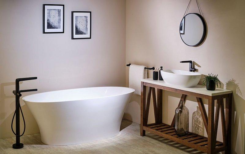 Parabola freestanding bath/shower mixer in Black with Victoria + Albert Barcelona tub.