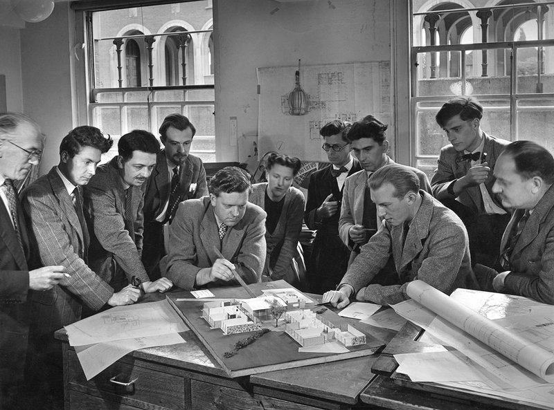 Designing a better Britain: Hertfordshire County architects plan a primary school landscape in this John Pantlin photo of 1952.
