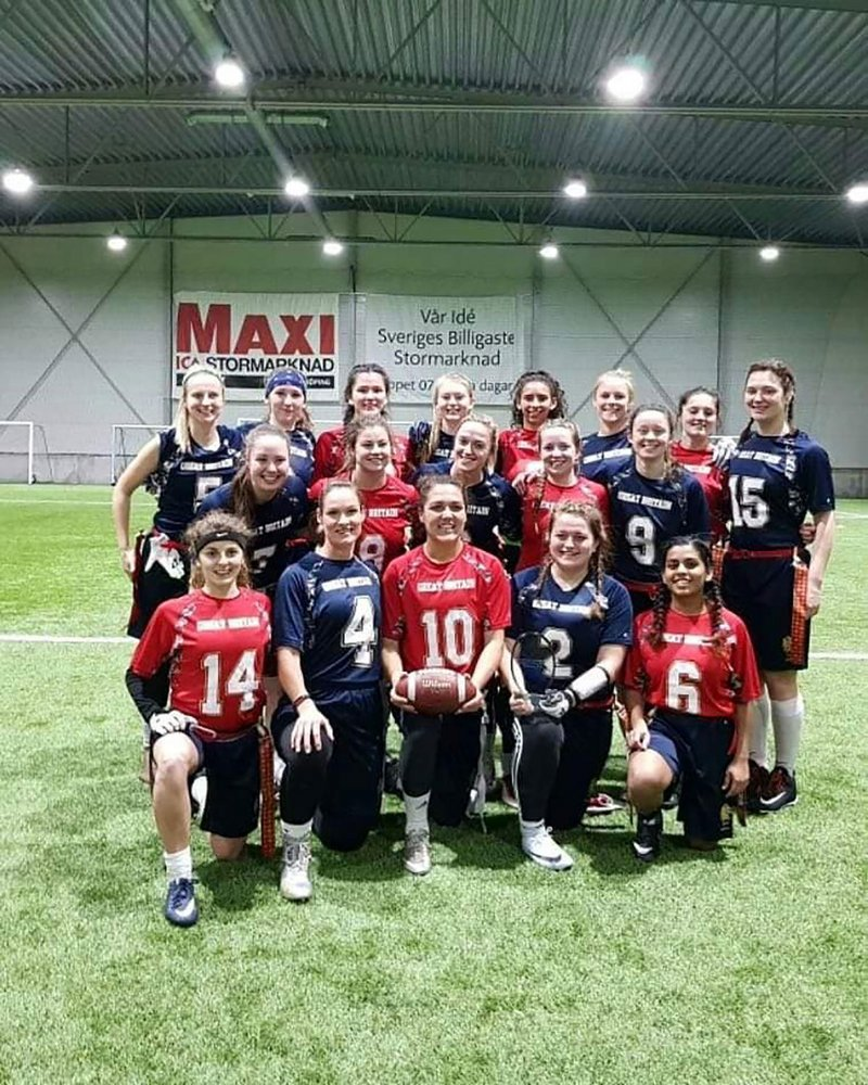Anureena D'costa in the GB flag football squad at a tournament in Sweden.
