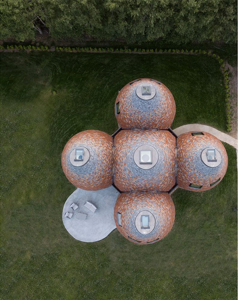 Bird's-eye view of Bumpers Oast, a new family house in Kent.