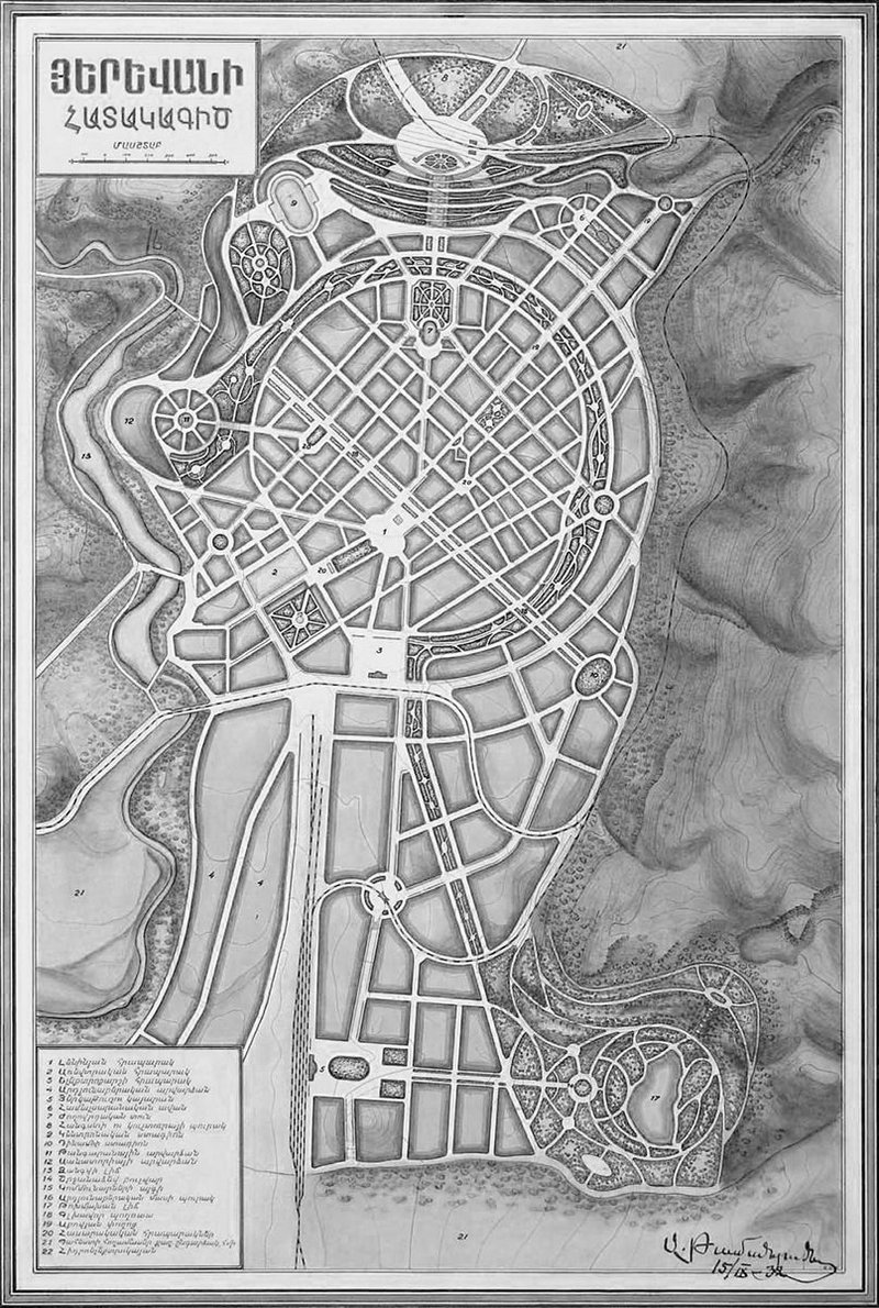 1924 masterplan of Yerevan Armenia as explored by Roy Khatchadourian.