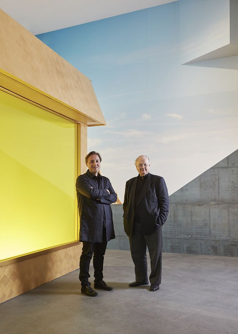 Glenn Murcutt and Hakan Elevli of Elevli Plus next to one of the lantern mock ups at the exhibition.