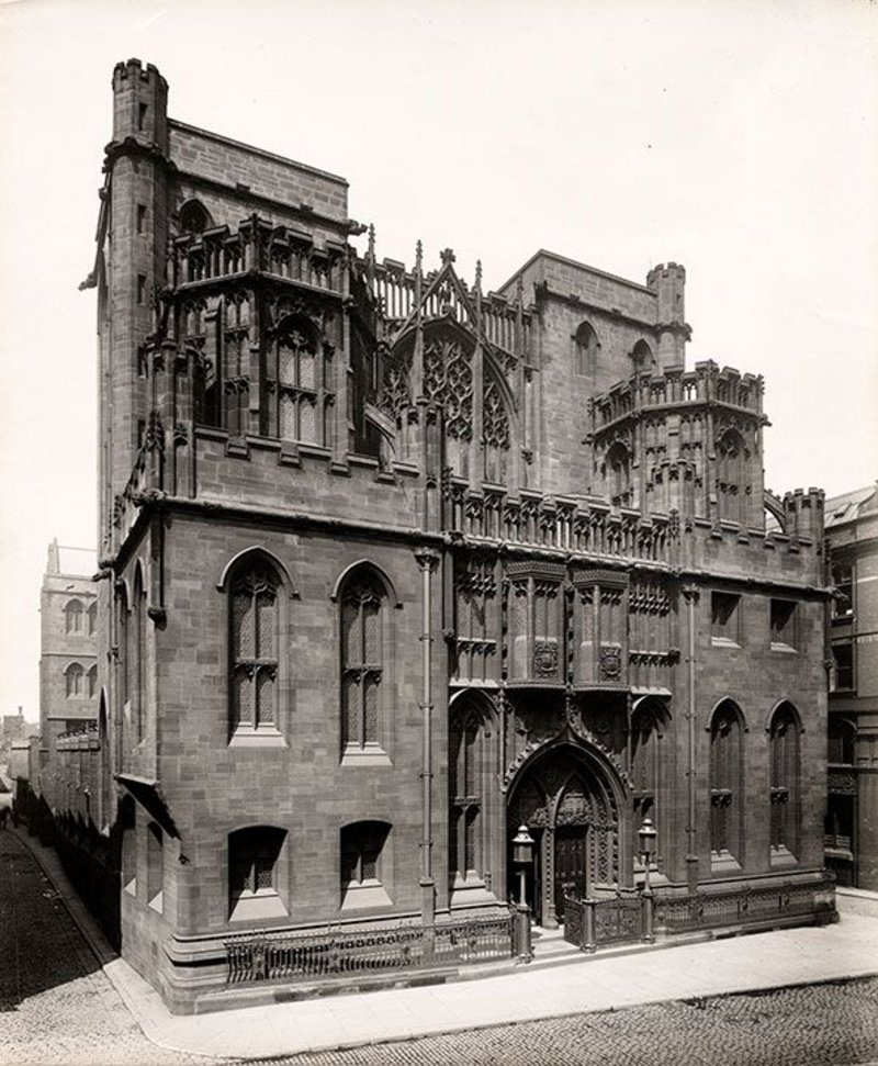 The John Rylands Library in Manchester as photographed for the RIBA Journal in 1900.