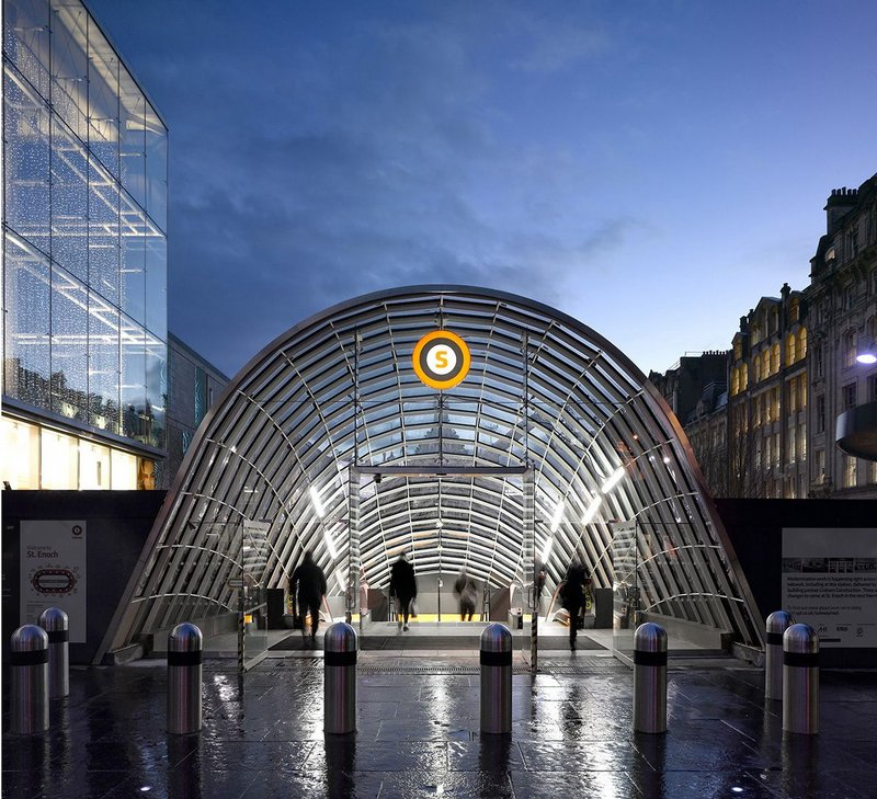 View of northern St Enoch Subway Station entrance canopy.