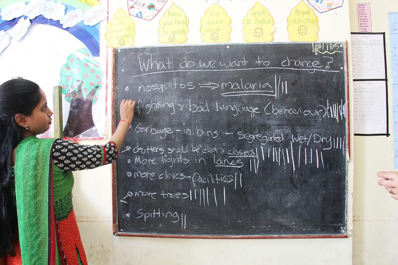The class vote for Mariamma Nagar neighbourhood design themes, 2014.