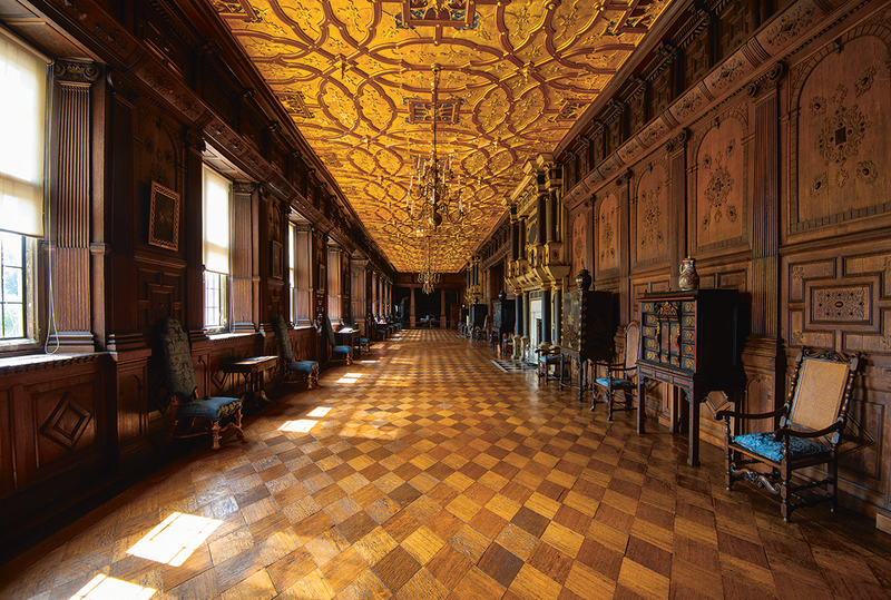The grand walking and talking spaces of Hatfield House.