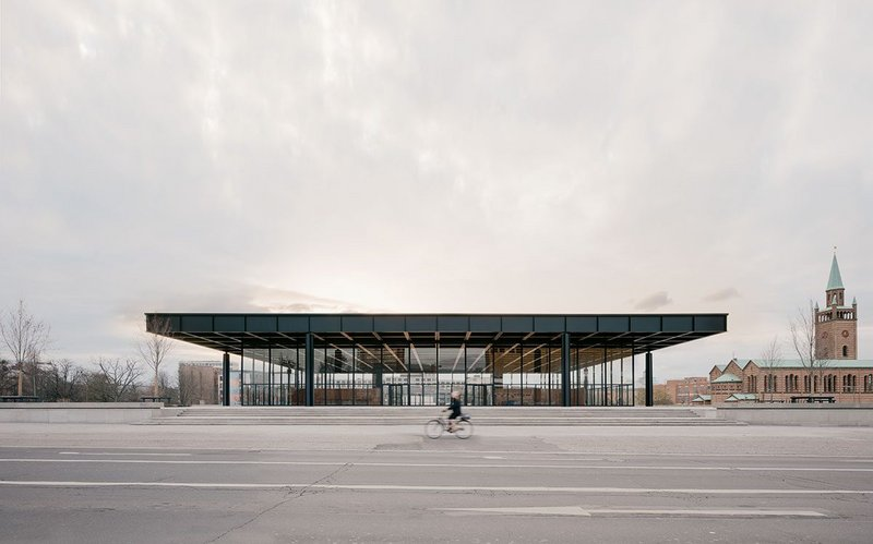 In full glory: The restored east elevation of the Mies' Neue Nationalgalerie with St Matthäus-Kirche to the north. Podium, entrance and lower levels are now fully accessible.