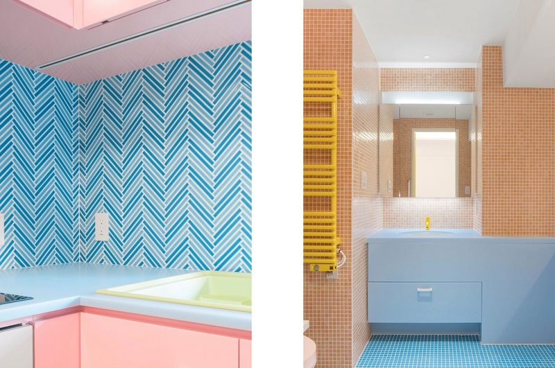 The bathroom and kitchen at Adam Nathaniel Furman's Nagatacho apartment project in Tokyo show how colour and texture can be combined.