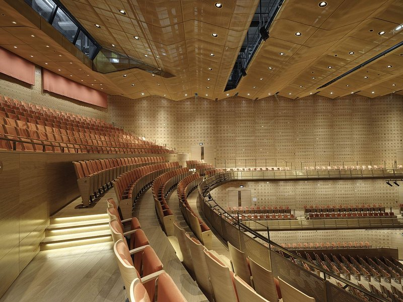 GKD's specialist Alu 6010 acoustic fabric in use at Antwerp's Koningin Elisabethzaal concert hall.