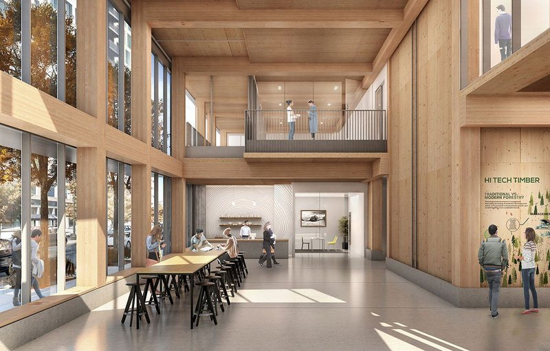 Rendering of lobby in the Framework, set to become the first mass timber high-rise in the US.